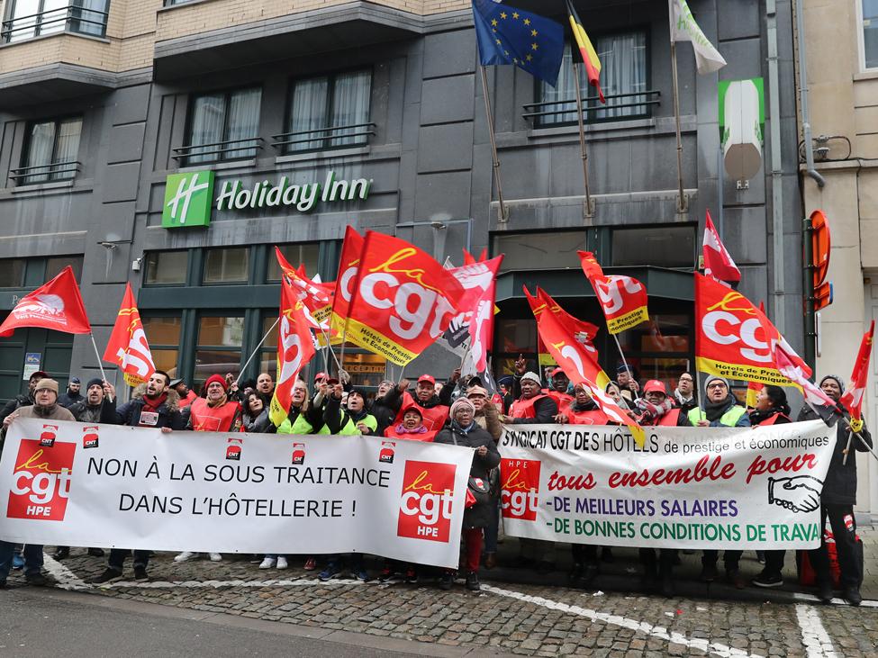 Les salarié·e·s d'Holiday Inn manifestent jusqu'à Bruxelles