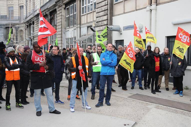 Assemblée générale des cheminots de la CGT Paris Est, pour organiser la grève des Cheminots, Paris gare de l'Est, 3 avril 2017