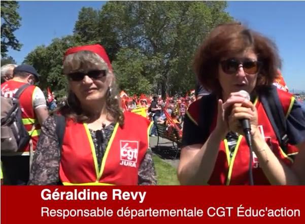Géraldine Révy a manifesté devant l'OIT pour défendre l'école et combattre les reculs sociaux